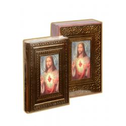 BIBLIA LATINO. LETRA GRANDE MADERA SAGRADO CORAZON MARCO ORO