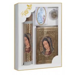 KIT PRIMERA COMUNION REPUJADO VIRGEN BUSTO MARIPOSAS ORO