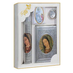 KIT PRIMERA COMUNION REPUJADO VIRGEN BUSTO MARIPOSAS PLATA